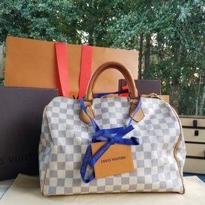 Louis Vuitton speedy30 damier azur Genuine